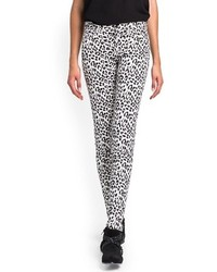 White and Black Leopard Skinny Pants