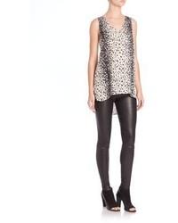 Leopard print silk hi lo tank medium 767459