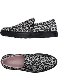 White and Black Leopard Slip-on Sneakers