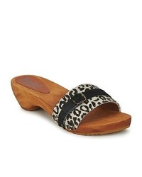 Sanita safari white leopard mules casual shoes medium 273507