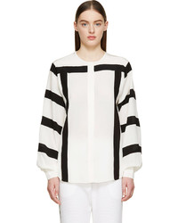 Chloé Milk White Black Striped Crpe De Chine Blouse