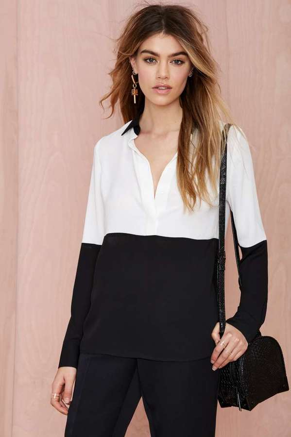 e4b7dfff0095 ... Black Long Sleeve Blouses Nasty Gal Off The Block Color Block Blouse ...