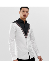 ASOS DESIGN Tall Stretch Slim Cut Sew Poplin Shirt With Tape Detail