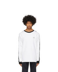 Acne Studios White Logo Stripe Long Sleeve T Shirt
