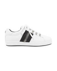 Balmain Esther Zip Embellished Leather Sneakers