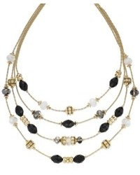 INC International Concepts Gold Tone Black And White Bead Illusion Necklace