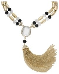 INC International Concepts Gold Tone Black And White Stone Tassel Necklace