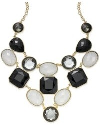 INC International Concepts Inc 14k Gold Plated Black And White Stone Two Row Bib Necklace
