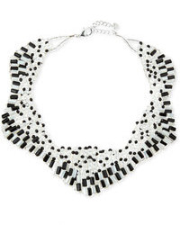 Nakamol Two Tone Czech Crystal Star Necklace Blackwhite