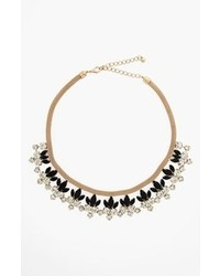 Natasha Couture Floral Statet Necklace Black And Gold