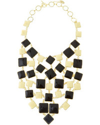 Amrita Singh Squared Enamel Bib Necklace Black White