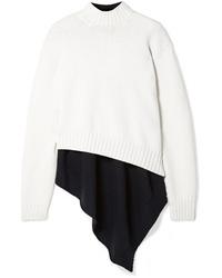 Monse Oversized Asymmetric Two Tone Wool Turtleneck Sweater