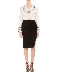White and black peasant blouse original 9703780