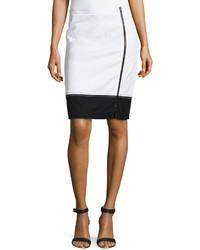 Paperwhite Knit Colorblock Pencil Skirt Whiteblack