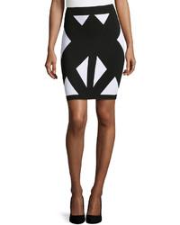 Neiman Marcus Triangle Print Pencil Skirt Blackwhite