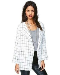 White and Black Plaid Blazer