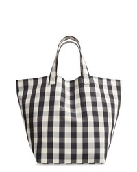 White and Black Plaid Canvas Tote Bag