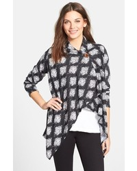 One button print fleece cardigan medium 150554