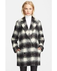 White and Black Plaid Coat