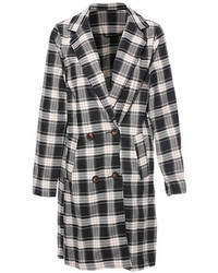 British Plaid Coat Black White