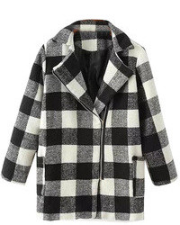 ChicNova Black And White Plaid Coat With Inclined Zipper