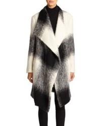 DKNY Draped Ombr Plaid Coat