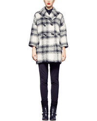 Pink Tartan Liz Plaid Wool Blend Coat