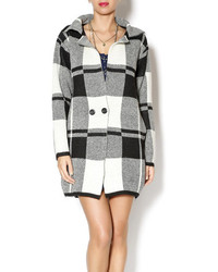 One Star Black Plaid Half Coat
