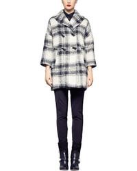 Pink Tartan Liz Plaid Wool Blend Coat