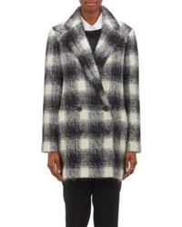 Theory Plaid Double Breasted Caf Coat