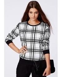Missguided Anaya Monochrome Grid Detail Flock Sweater