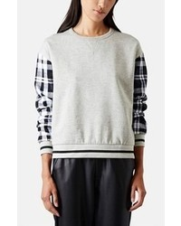 Topshop Check Sleeve Sweatshirt