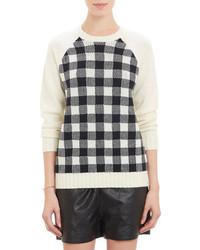 Weiland gingham front crewneck sweater medium 71593