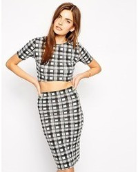 Club l scuba crop top in check print medium 73989