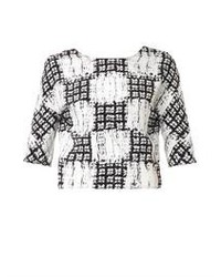 Balenciaga Scribble Check Cropped Blouse