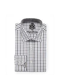 White and Black Plaid Dress Shirt