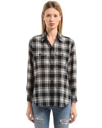 Saint Laurent Bleached Wool Plaid Shirt