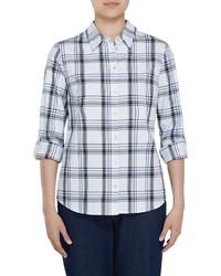 Allison Daley Long Roll Tab Sleeve Windowpane Plaid Button Front Shirt