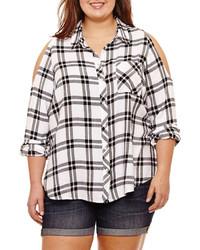 Arizona Long Sleeve Plaid Button Front Shirt Juniors Plus