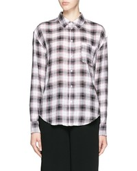 Elizabeth and James New Carine Plaid Print Cotton Voile Shirt