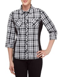 Allison Daley Petites 34 Roll Tab Sleeve Plaid Button Front Shirt