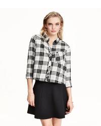 053d5484d978c ... White and Black Plaid Dress Shirts H&M Short Flannel Shirt Blackwhite  Checked Ladies H&M Short Flannel Shirt Blackwhite Checked Ladies H&M Short  Flannel ...