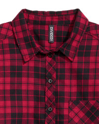 564884c92f2ec H&M Short Flannel Shirt Blackwhite Checked Ladies, $17 | H & M ...