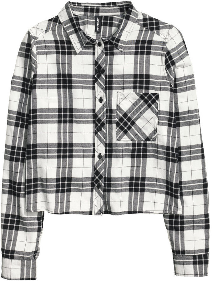 5abe21a6eaf92 ... White and Black Plaid Dress Shirts H&M Short Flannel Shirt Blackwhite  Checked Ladies ...