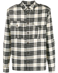 White and Black Plaid Flannel Long Sleeve Shirt