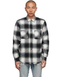Amiri Black White Flannel Shotgun Shirt