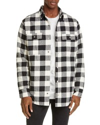 White and Black Plaid Flannel Shirt Jacket