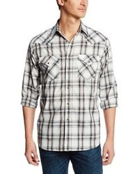 White and Black Plaid Long Sleeve Shirt