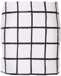 White and Black Plaid Mini Skirt