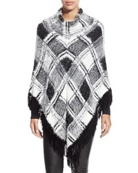 Love token plaid fringe poncho medium 353904